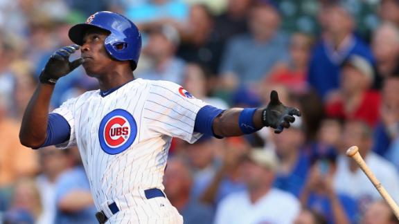Alfonso Soriano watches one of his two home runs go into orbit.